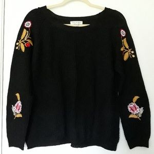 Black Embroidered Pullover Sweater